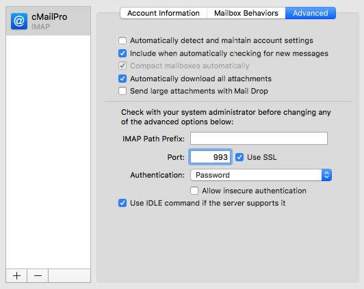 cmailpro account mac mail