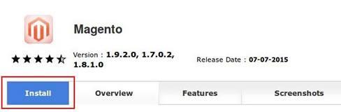 Интерфейс за стартиране инсталацията на Magento