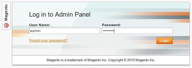Интерфейс за логване в администрацията на Magento