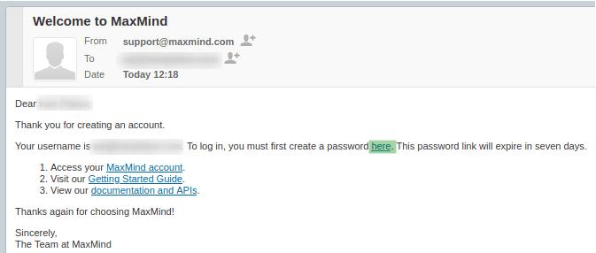 Линк в имейла за създаване на парола