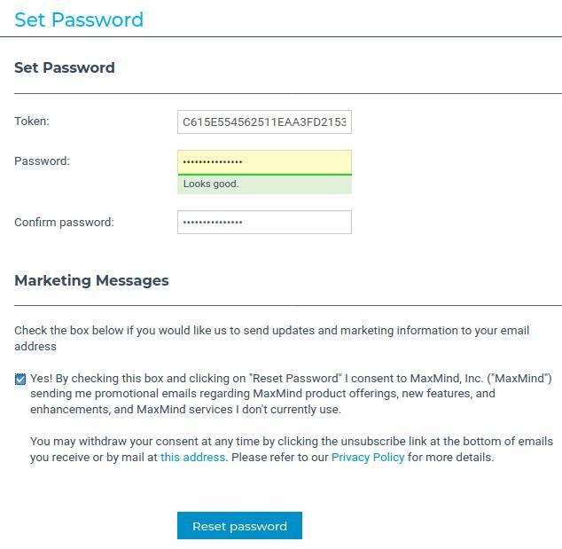 Интерфейс Set Password за генериране на парола в MaxMind