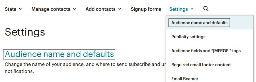 Достъп до страницата Audience name and defaults