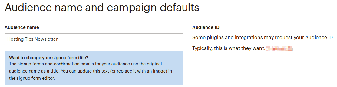 Настройки на страницата Audience name and defaults