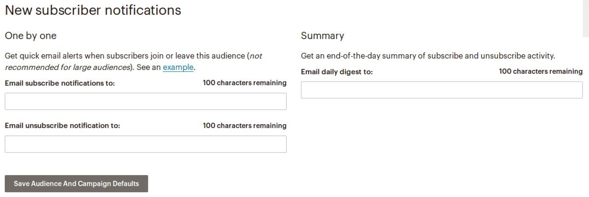 Настройки в секция New subscriber notifications