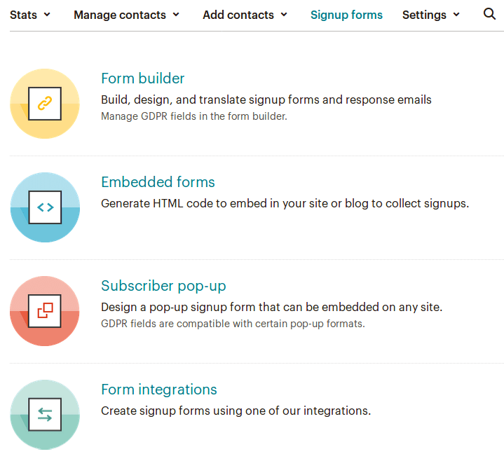 Изглед на страница Signup forms