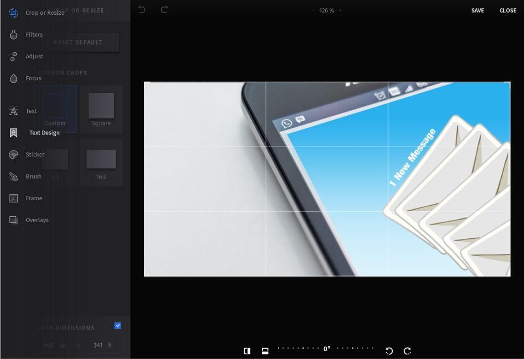 Изглед на редактора за изображения