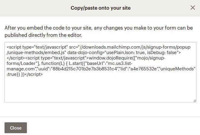 Прозорец за копиране на кода