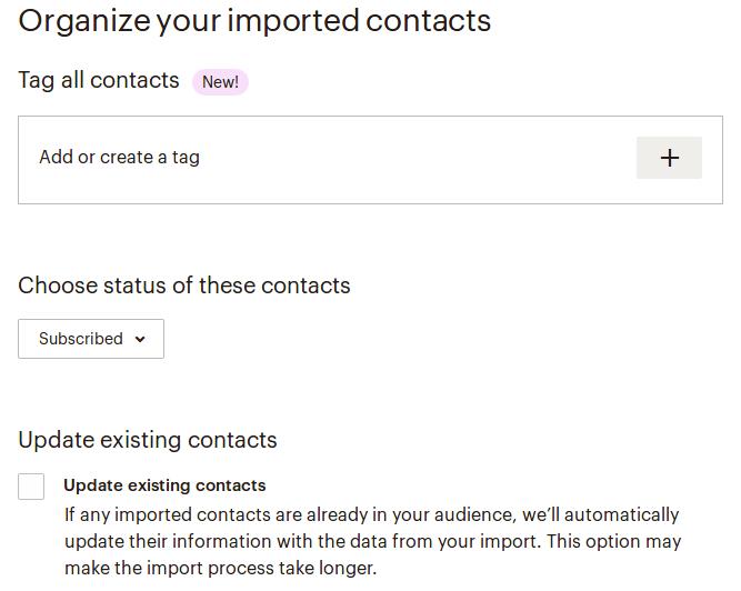 Организиране на контактите