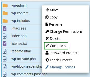 Линк Compress в меню