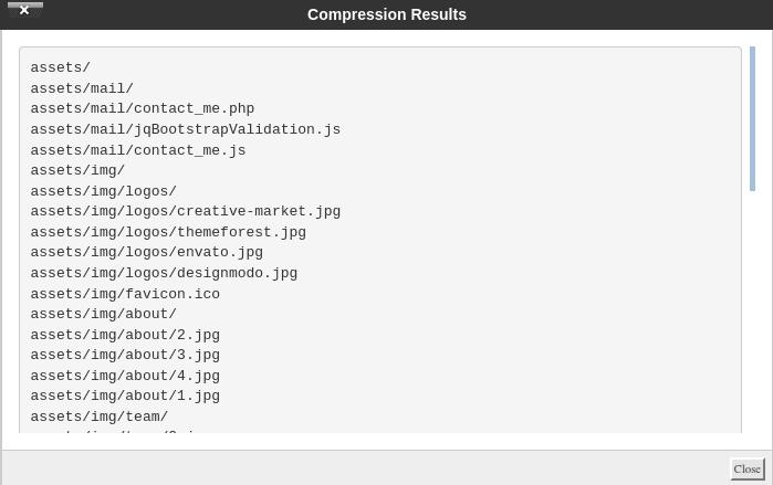 Бутон 'Close' в панела 'Compression Results'