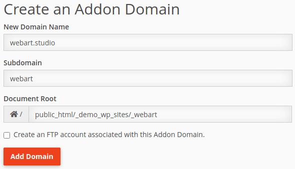 Конфигуриране на допълнителен домейн в cPanel