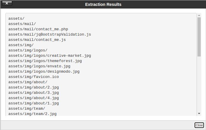 Затваряне на Compression Results с бутона Close