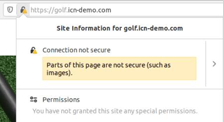 Предупреждение за смесено съдържание в Mozilla Firefox