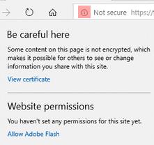 Предупреждение за смесено съдържание в Edge (IE)