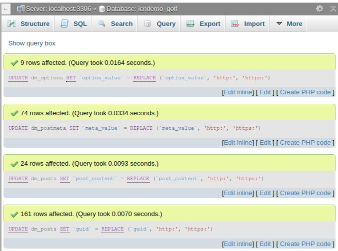 Резултат от изпълнението на заявката в phpMyAdmin