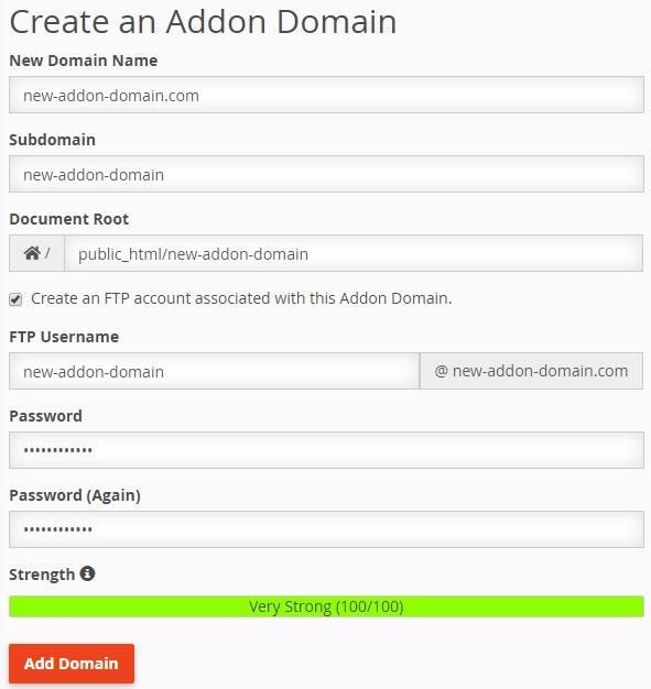 Интерфейс за създаване на допълнителни домейни в cPanel