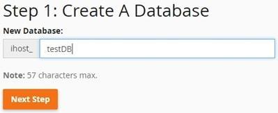 Интерфейс за създаване на нова база данни