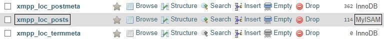 Информация за хранилище на MySQL таблица в phpMyAdmin