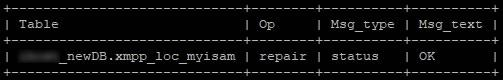 Поправяне на myisam таблица