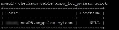 Изчисляване на контролна сума на myisam таблица