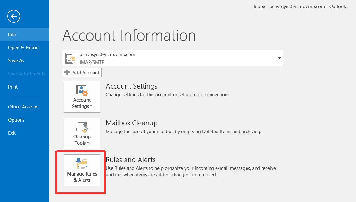 Manage Rules Alerts в Microsoft Outlook