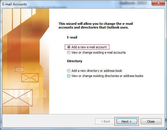 Панел за добавяне на нов имейл акаунт