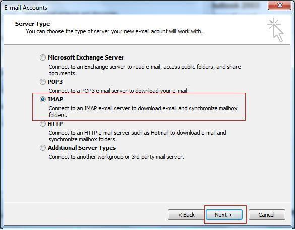 Избор на протокол IMAP