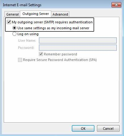 My outgoing server (SMTP) requires authentication в Microsoft Outlook 2013