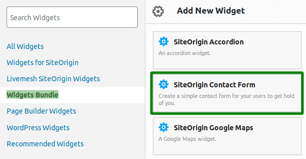 Икона на SiteOrigin Contact Form