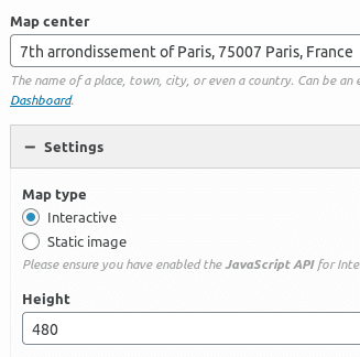 Настройване на SiteOrigin Google Maps