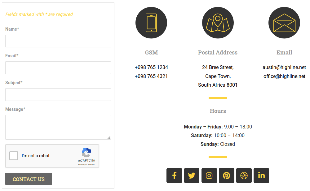 Общ изглед на страница Contact