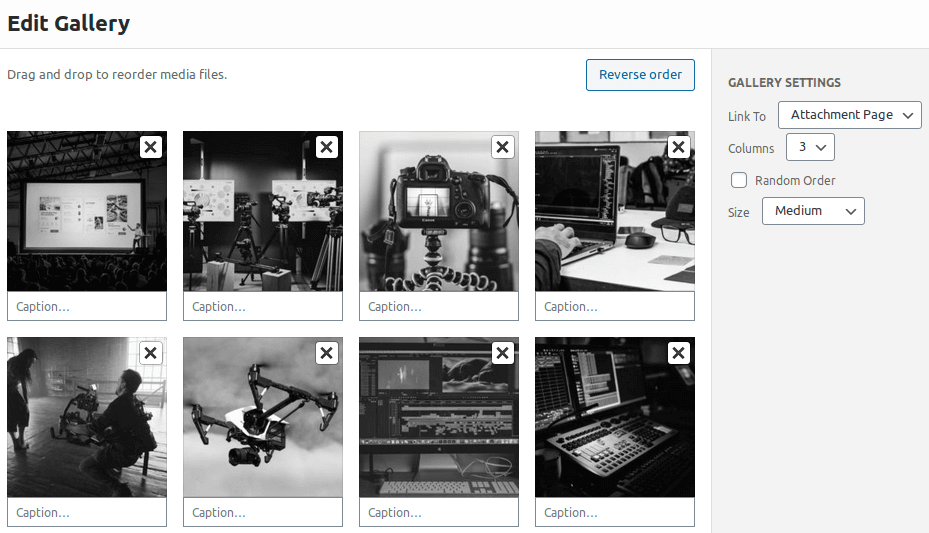 Настройки в панел Edit Gallery