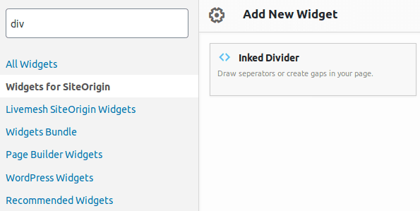 Икона на Inked Divider в панела Widgets for SiteOrigin