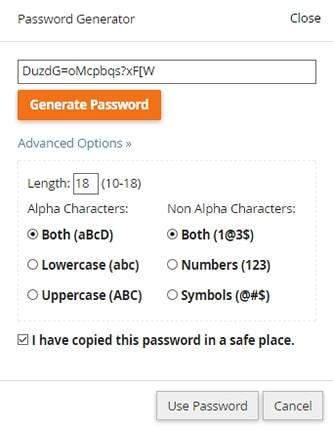password generator cpanel