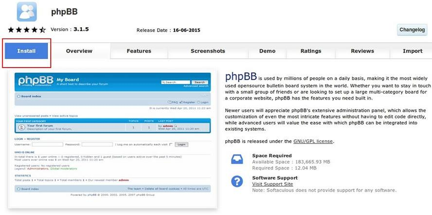 phpbb softaculous cpanel