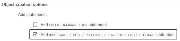 Добавяне на опции при експорта на база данни в PHPMyAdmin