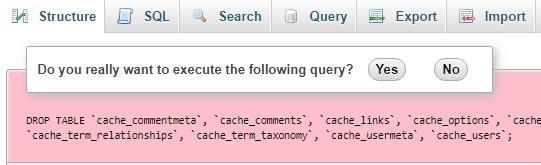 Потвърждение за изпълняване на query в PHPMyAdmin