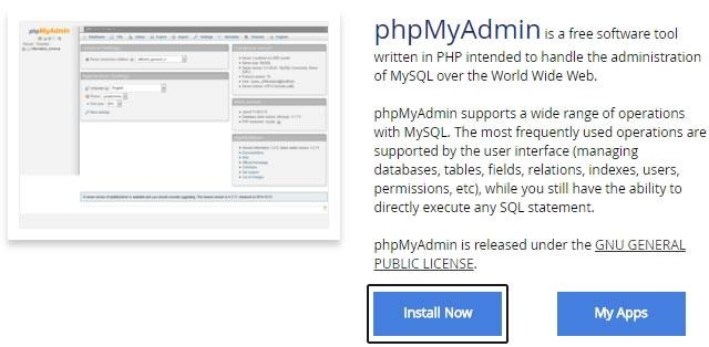 phpmyadmin softaculous cpanel