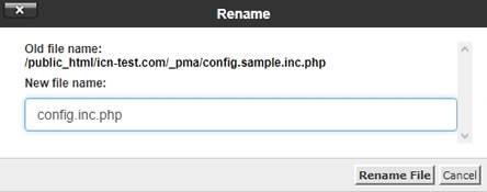 Преименуване на файла config.sample.inc.php