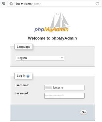 Форма за логване в phpMyAdmin