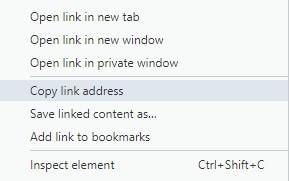 Линк Copy link address в меню