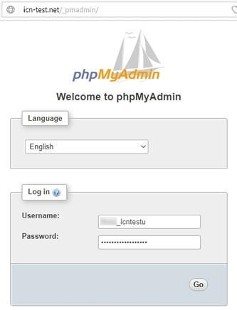 Панел за логване в phpMyAdmin