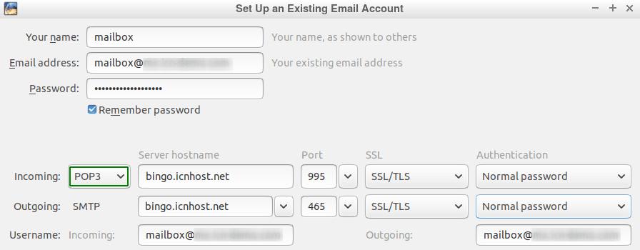 Панел за конфигуриране на POP3 акаунт в Thunderbird