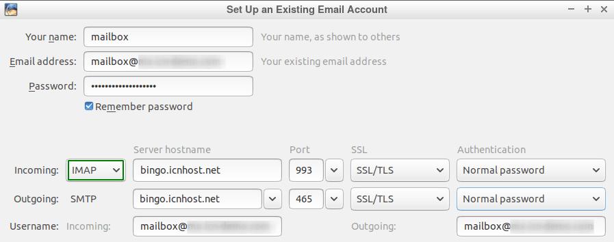 Панел за конфигуриране на IMAP акаунт в Thunderbird