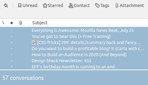 Селектиране на имейл съобщения