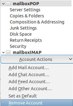 Меню Account Settings и настройка Remove Account