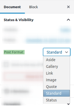 Post Formats в редактора Gutenberg