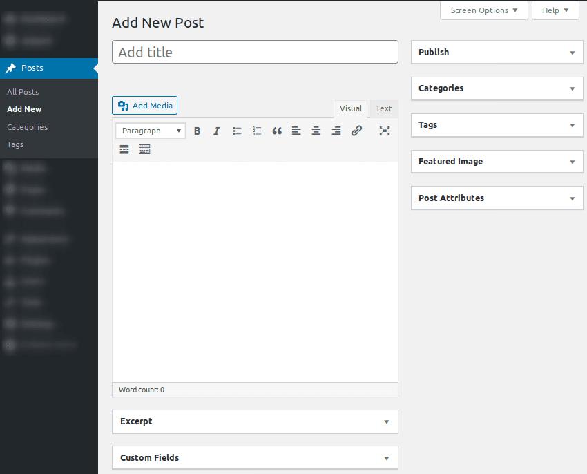 Интерфейс за създаване на публикация в редактора Classic Editor