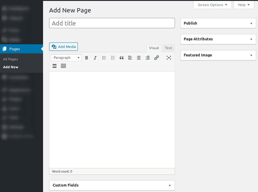 Интерфейс за създаване на страница в Classic Editor