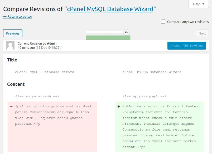 Панел Compare Revisions за управление на ревизии
